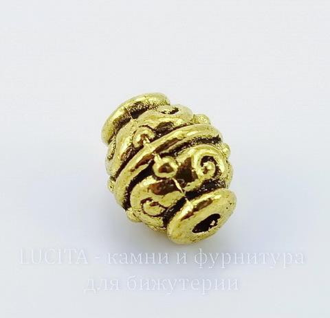 "Бусина металлическая ""Фонарик"" (цвет - античное золото) 9х7 мм"