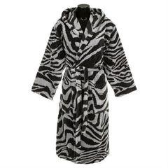 Халат велюровый Roberto Cavalli Zebra черный