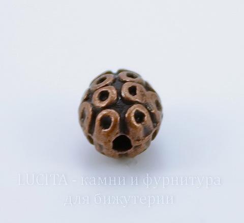 Бусина металлическая овальная (цвет - античная медь) 9х7 мм