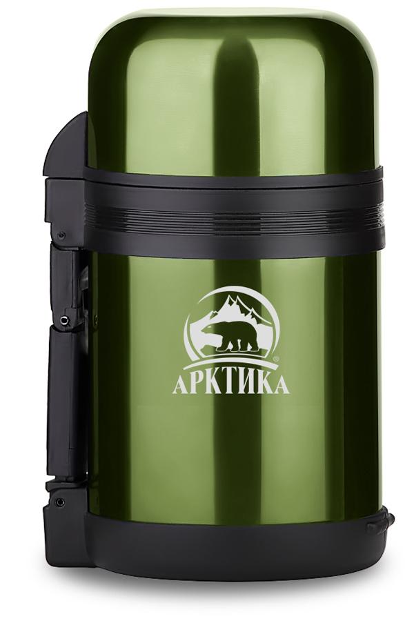 Термос универсальный (для еды и напитков) Арктика (1 л.) с широким горлом, болотный