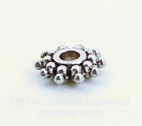 Бусина металлическая - спейсер (цвет - античное серебро) 10х2 мм, 10 штук