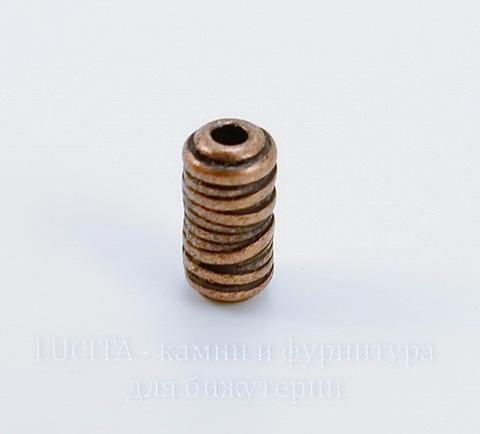 "Бусина металлическая трубочка ""Катушка ниток"" (цвет - античная медь) 11х6 мм"