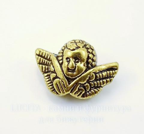 """Бусина металлическая """"Ангел"""" (цвет - античное золото) 19х12х8 мм"""