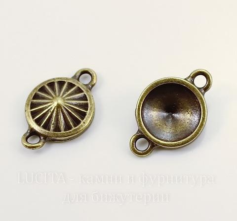 """Сеттинг - основа - коннектор TierraCast """"Грани"""" (1-1) для страза 10 мм (цвет-античная латунь)"""