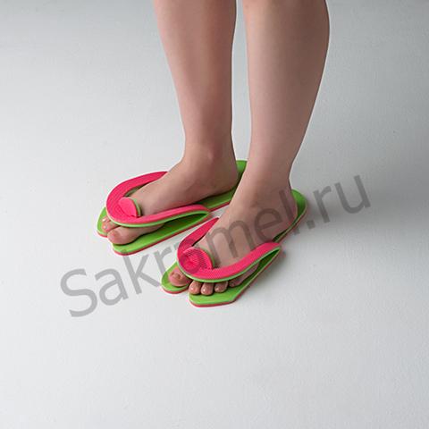 Тапочки-вьетнамки Розовый/Салатовый (10 пар) Пенополиэтилен 8 мм