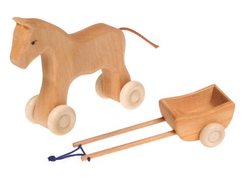 Лошадка с повозкой набор (Grimm's)