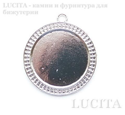 Сеттинг - основа - подвеска с узором 44х39 мм для камеи или кабошона 30 мм (цвет- античное серебро) ()