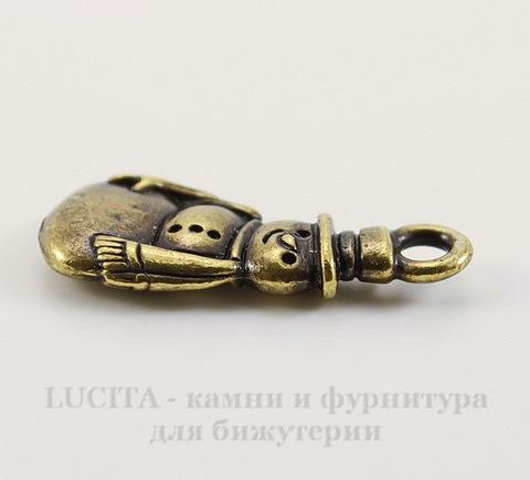 """Подвеска TierraCast """"Снеговик"""" (цвет-античная латунь) 23х10 мм"""