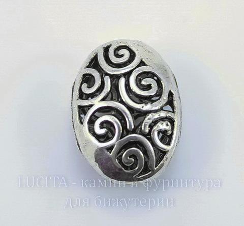 """Бусина металлическая """"Ажурный овал"""" (цвет - античное серебро) 19х14 мм"""