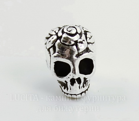 "Бусина TierraCast ""Череп с розой"" 10х8 мм (цвет-античное серебро)"