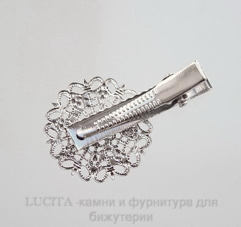 Основа для заколки с филигранью 25 мм, 40х25 мм (цвет - античное серебро)