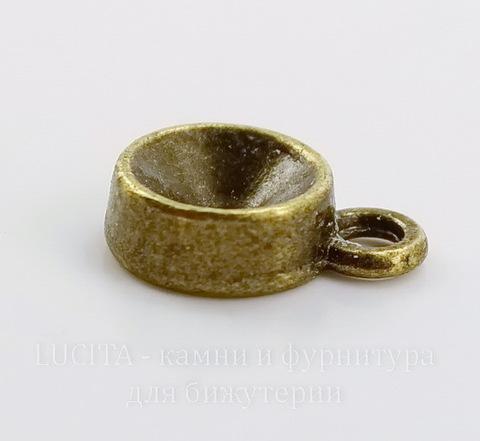 Сеттинг - основа - подвеска для страза 7 мм (цвет - античная бронза) 13х9 мм