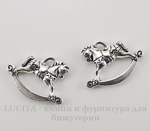 """Подвеска TierraCast """"Игрушечная лошадка"""" (цвет-античное серебро) 22х15 мм"""