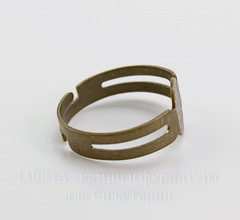 Основа для кольца с круглой площадкой 8 мм (цвет - античная бронза)