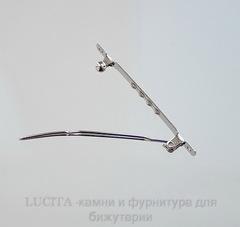 Основа для заколки с зажимом, 57х5 мм (цвет - античное серебро)