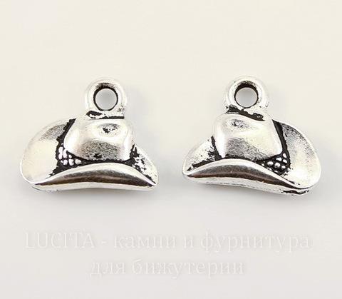 """Подвеска TierraCast """"Ковбойская шляпа"""" (цвет-античное серебро) 13х12 мм"""