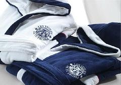 Халат велюровый Mirabello Genois синий с белым