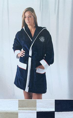 Элитный халат велюровый Genois синий с белым от Mirabello