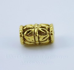 Бусина металлическая 10х6 мм (цвет - античное золото), 10 штук