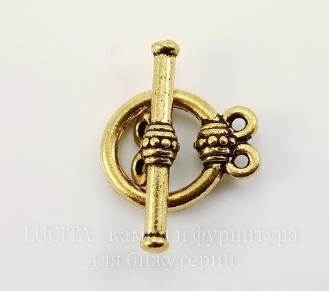 "Замок - тоггл из 2х частей на 2 нити TierraCast ""Бусинки"" (цвет-античное золото) 16х12 мм, 21х6 мм"