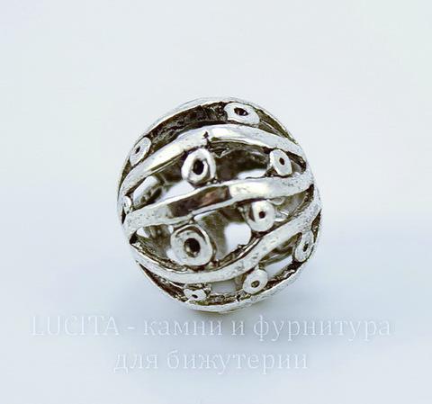 """Бусина металлическая """"Абстракция"""" (цвет - античное серебро) 14 мм"""