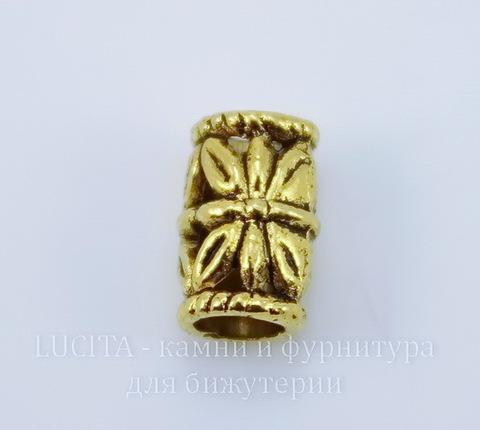 Бусина металлическая трубочка (цвет - античное золото) 10х6 мм , 10 штук