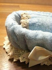 Набор полотенец 3 шт Old Florence Rombetti и корзинка голубой