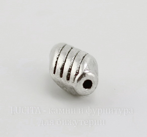 """Бусина металлическая """"Полосатая"""" (цвет - античное серебро) 10х6 мм, 10 штук"""