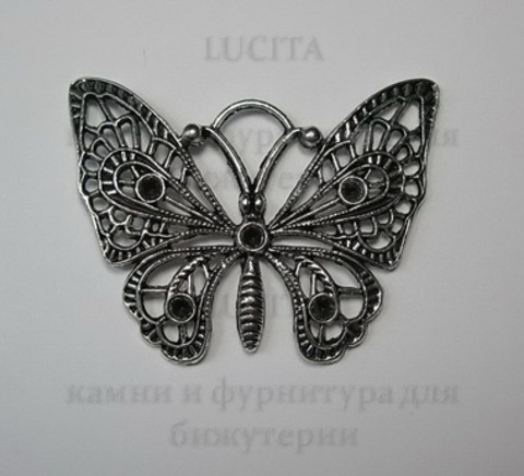 """Подвеска филигранная  """"Бабочка"""" ажурная 48х36мм (цвет - античное серебро) ()"""