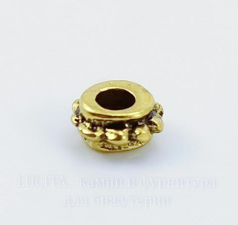 Бусина металлическая - спейсер (цвет - античное золото) 6х3 мм, 10 штук