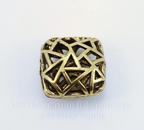 """Бусина металлическая """"Мозаика"""" (цвет - античное золото) 17х17 мм"""