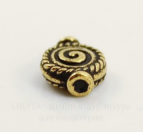"Бусина TierraCast ""Спираль"" 12х9 мм (цвет-античное золото)"