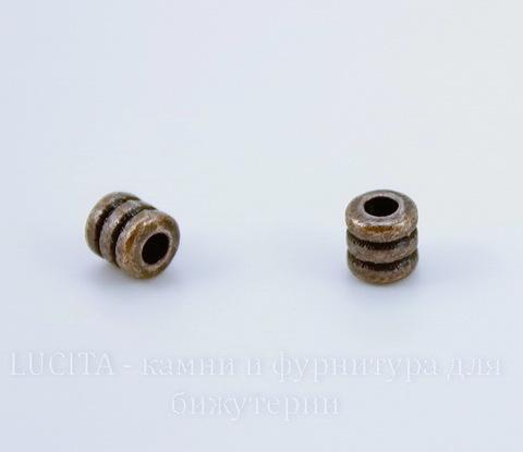 """Бусина металлическая """"Рельефная"""" (цвет - античная медь) 4х4 мм, 10 штук"""