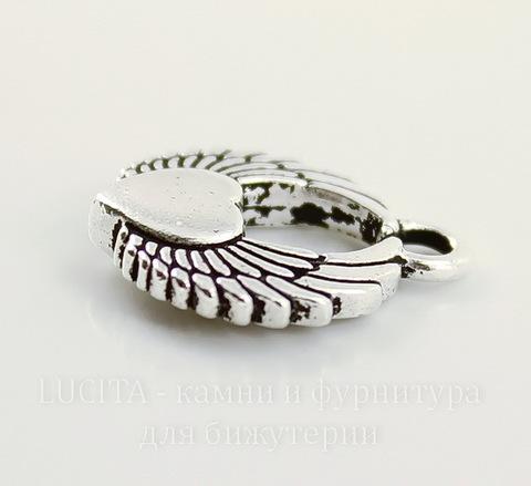 "Подвеска TierraCast ""Крылатое сердце"" (цвет-античное серебро) 18х15 мм"