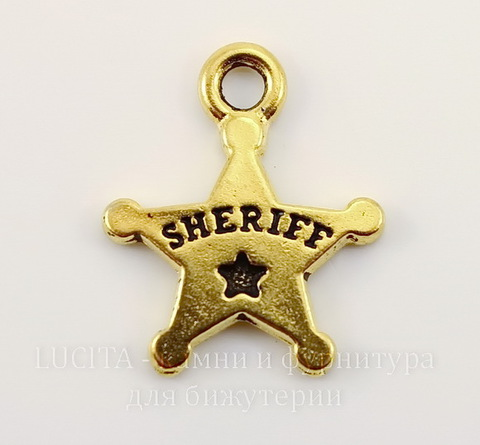 """Подвеска TierraCast """"Звезда шерифа"""" (цвет-античное золото) 18х15 мм"""