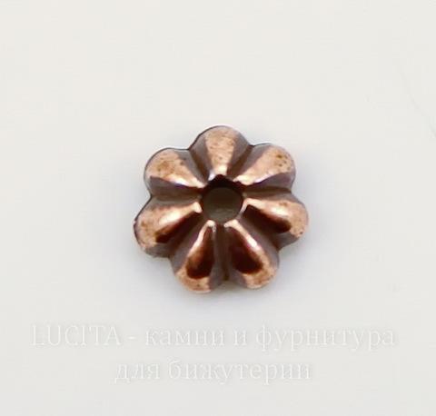 """Шапочка для бусины TierraCast """"Лепестки"""" (цвет-античная медь) 5х2 мм"""