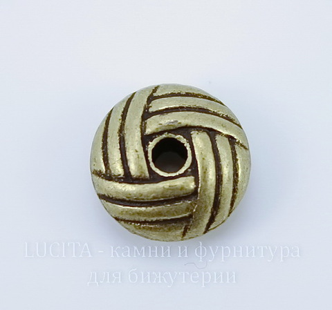 """Бусина металлическая - рондель """"Клубочек"""" (цвет - античная бронза) 10х5 мм, 10 штук"""