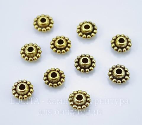 Бусина металлическая (цвет - античное золото) 9х5 мм , 10 штук