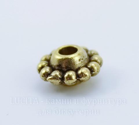 Бусина металлическая 9х5 мм (цвет - античное золото), 10 штук