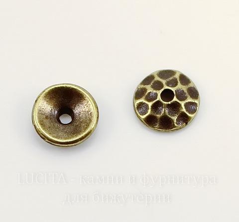 "Шапочка для бусины TierraCast ""Hammertone"" (цвет-античная латунь) 6х2 мм"