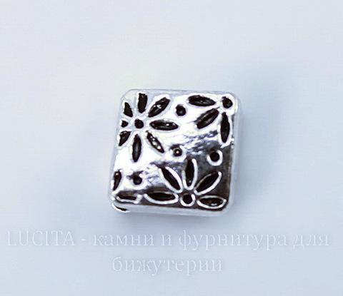 """Бусина металлическая - ромб """"Цветочки"""" (цвет - античное серебро) 7х7 мм, 10 штук"""