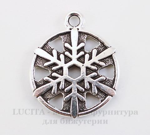 "Подвеска TierraCast ""Снежинка"" (цвет-античное серебро) 24х19 мм"