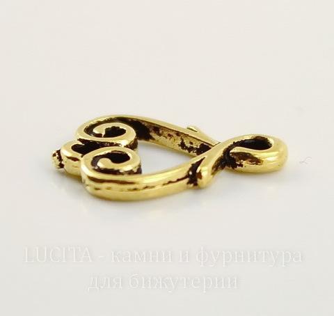 """Коннектор TierraCast """"Сердце"""" (1-1) 13х10 мм (цвет-античное золото)"""