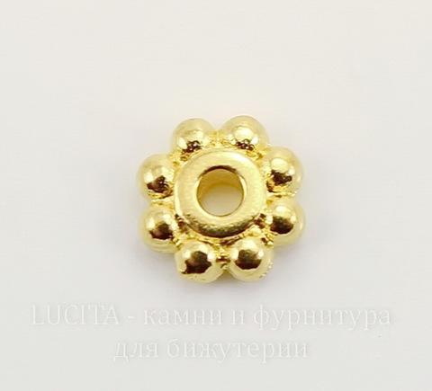"""Бусина - спейсер TierraCast """"Бусинки"""" (цвет-золото) 6х2 мм"""