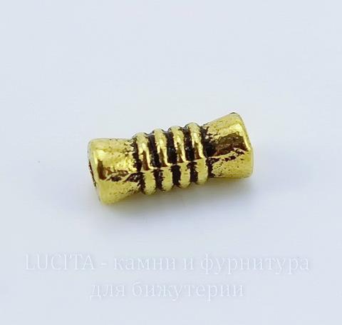 """Бусина металлическая трубочка """"Полосатая"""" (цвет - античное золото) 10х4 мм, 10 штук"""