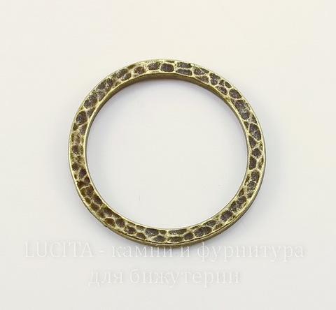 """Коннектор - кольцо TierraCast """"Hammertone"""" 25 мм (цвет-античная латунь)"""