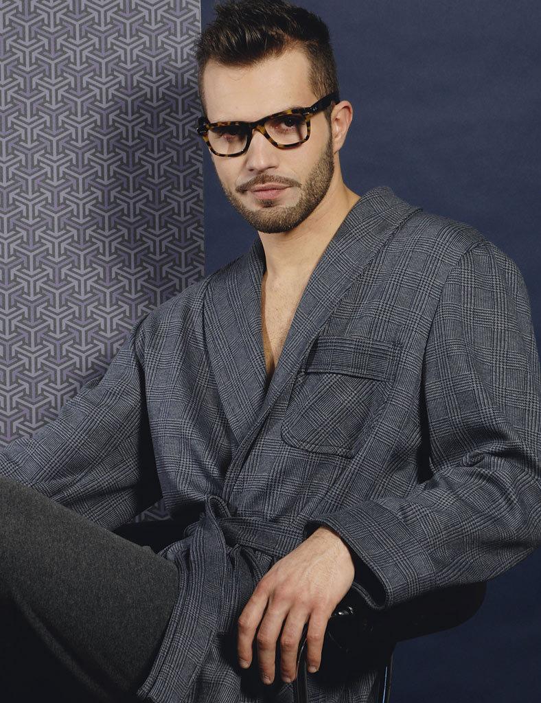 Мужской трикотажный халат к клетку B&B (Мужские халаты)