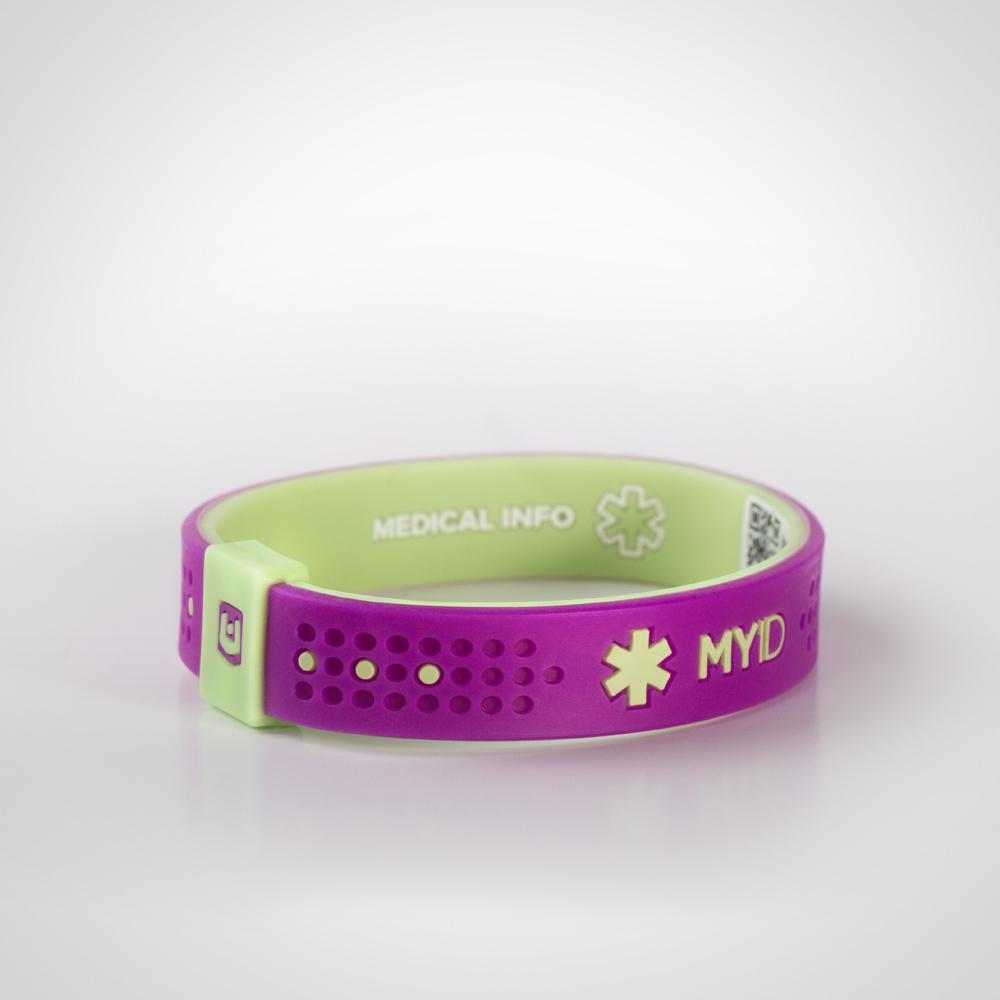Информационный энергетический браслет MyID Sport пурпурный/лайм