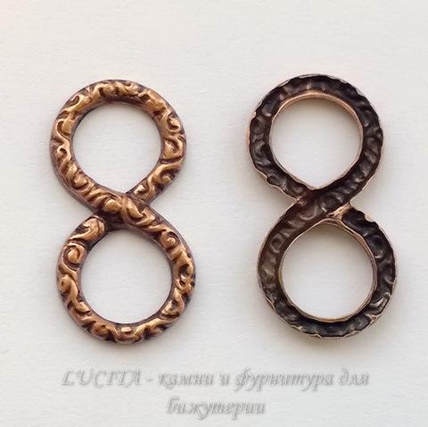 Винтажный декоративный элемент - коннектор Восьмерка 20х10 мм (оксид меди) ()