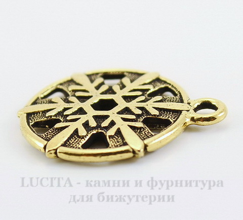 "Подвеска TierraCast ""Снежинка"" (цвет-античное золото) 24х19 мм"